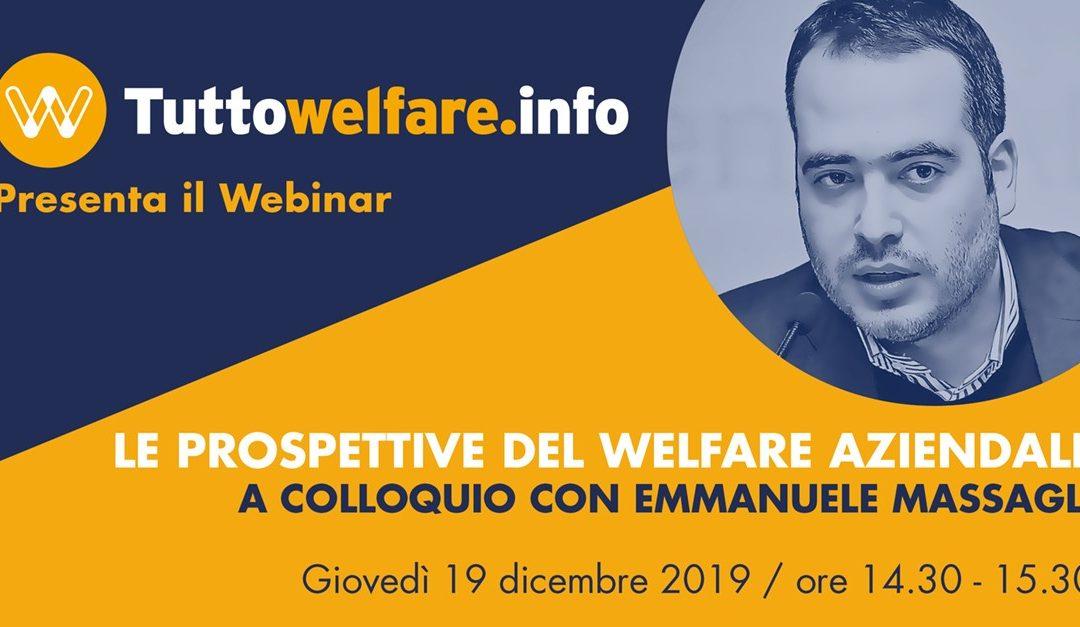 """Webinar """"Le prospettive del welfare aziendale. A colloquio con Emmanuele Massagli"""""""